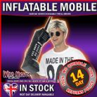 FANCY DRESS ACCESSORY # ADULT 1980s BLACK INFLATABLE RETRO MOBILE PHONE